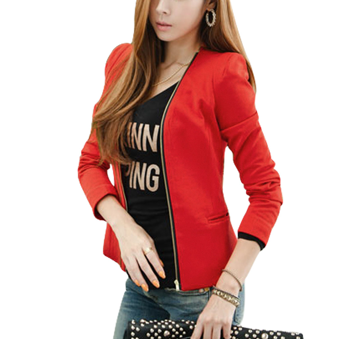 Woman Orange Red Long Sleeve Zip-Up Closure Casual Blazer Jacket XS