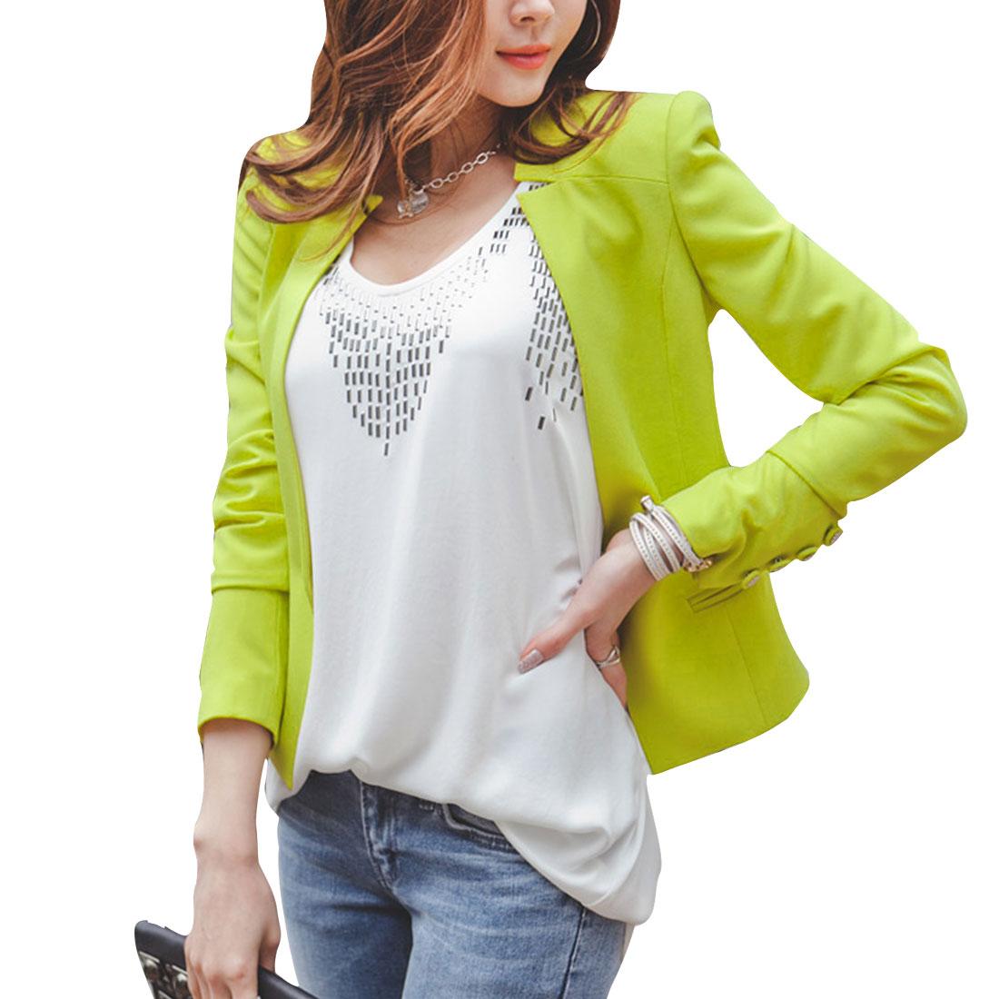 Woman Nice Lime Color Long Sleeve Padded Shoulder Short Blazer XS