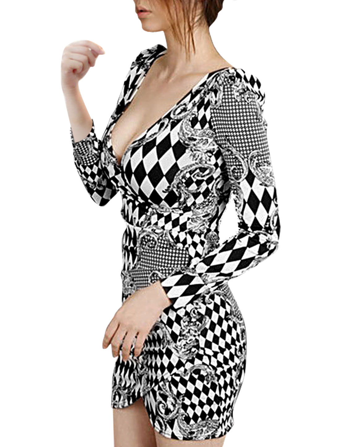 7515 Lady Long Sleeve Argyle Pattern Black White Wrap Sheath Dress/XS (US 0)