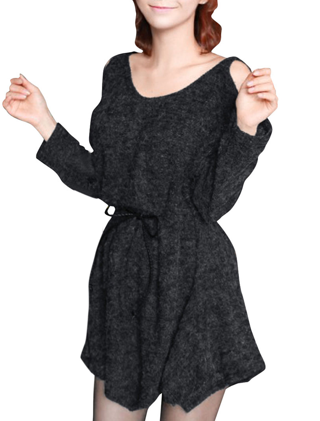 Women Cut Out Sleeve String Irregular Hem Knitted Dress Dark Gray S