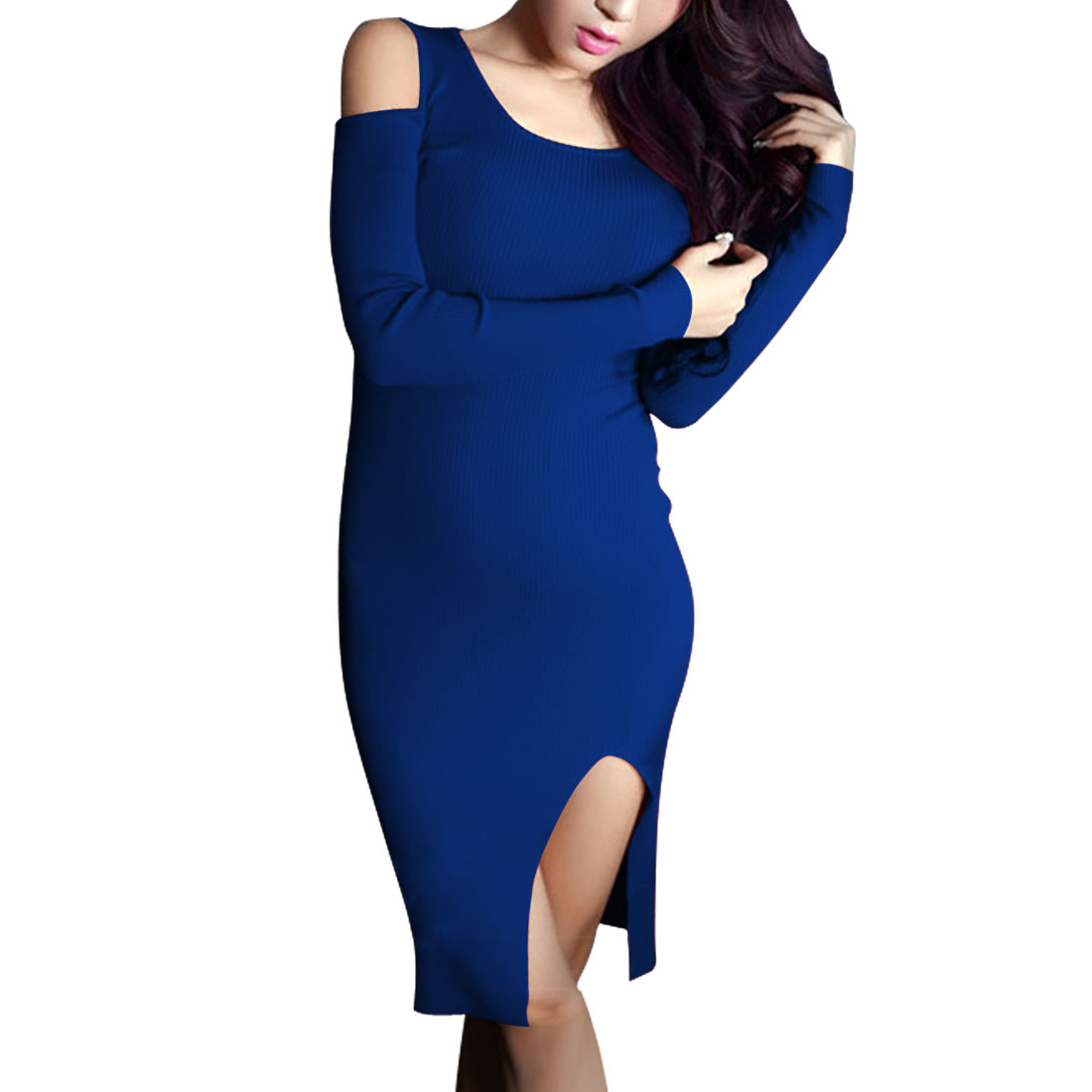 Women Scoop Neck Long Sleeve Slim Fit Knitted Dress Royal Blue XS