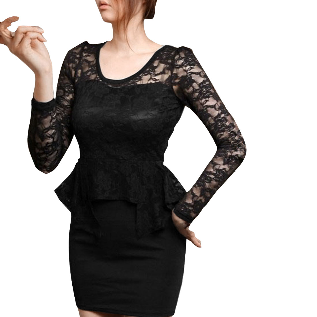 Lady Scoop Neck Long Sleeve Lace Panel Stretchy Black Dress XS