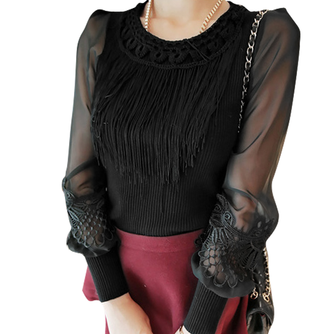 Women Semi-Sheer Long Sleeved Tassel Decor Black Knit Shirt XS