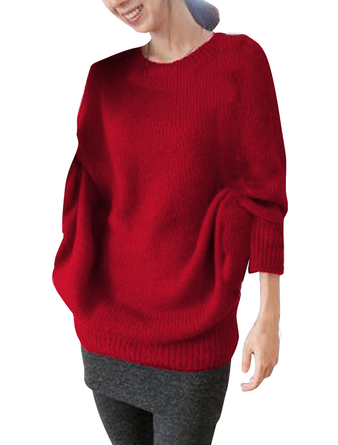 Women's Casual Pullover Solid Red Batwing Sleeve Loose Knitted Sweater S
