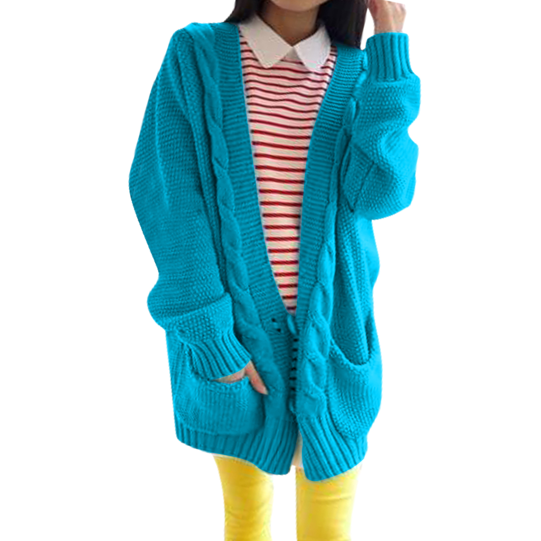 Women Batwing Sleeve Braided Double Pocket Blue Knit Cardigan Sweater M