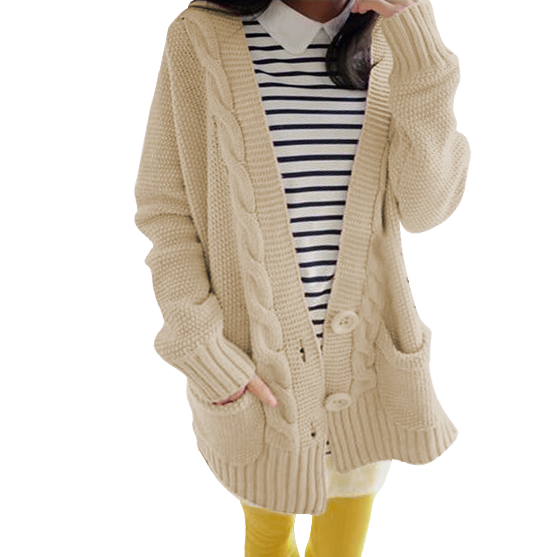 Women Button Front Long Sleeve Beige Knit Cardigan Swaeter M
