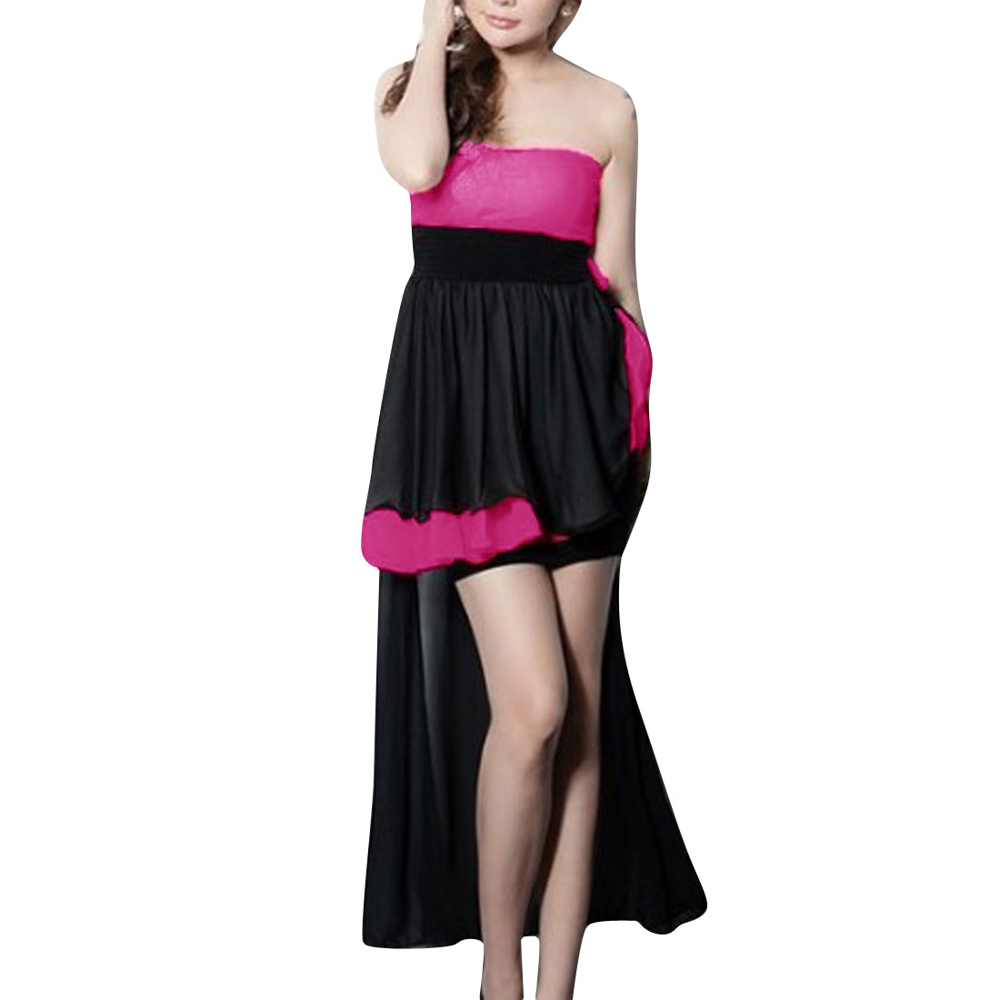 Woman Strapless Padded Bust Stretchy Hot Pink Black Irregular Hem Dress XS