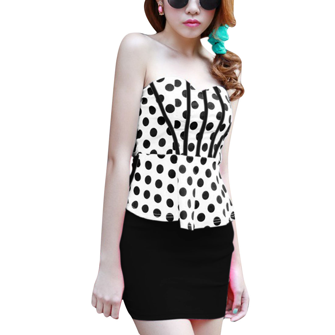 Women Off Shoulder Dots Pattern Sheath Dress Black White XS