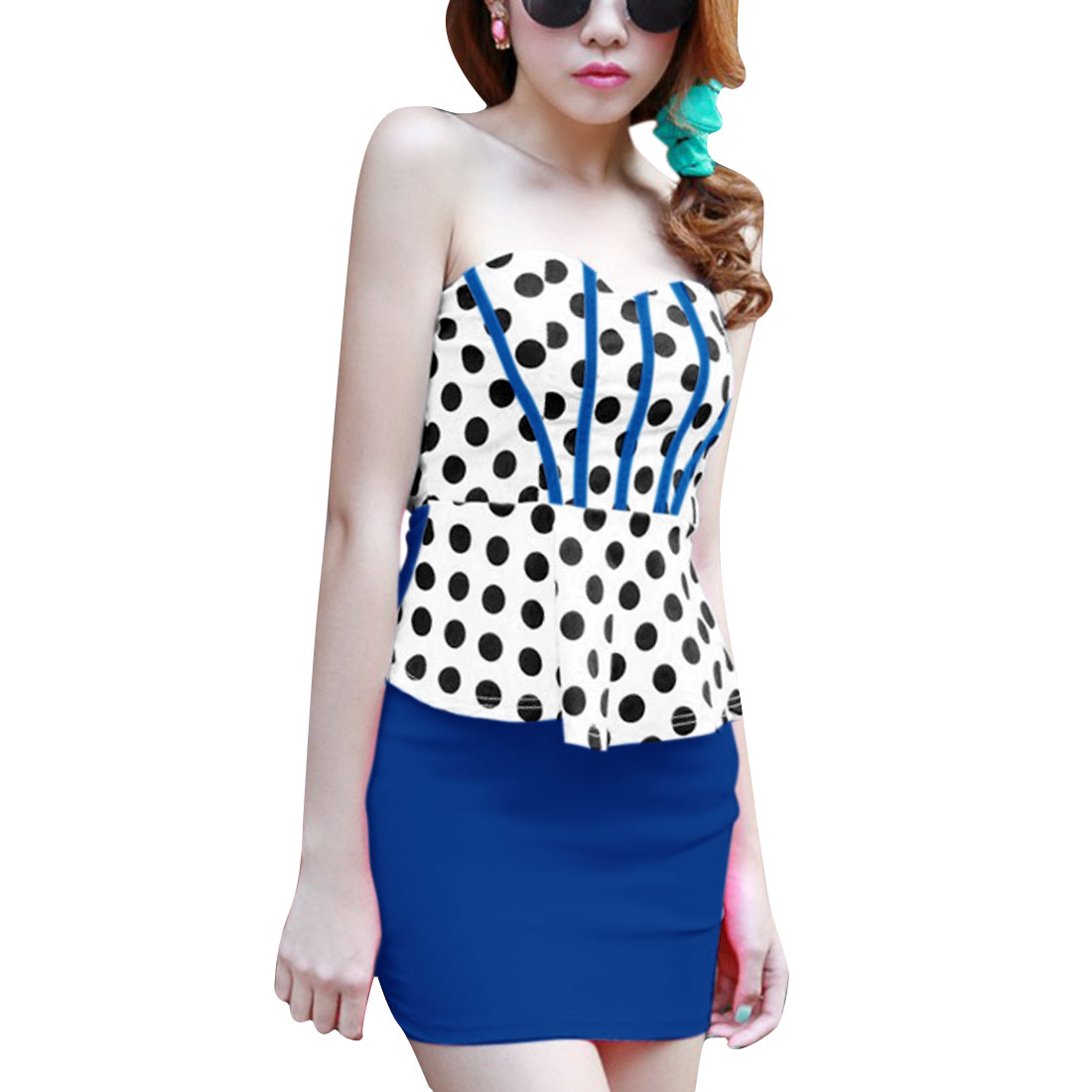 Women Off Shoulder Sleeveless Panel Elastic Dress Royal Blue White XS