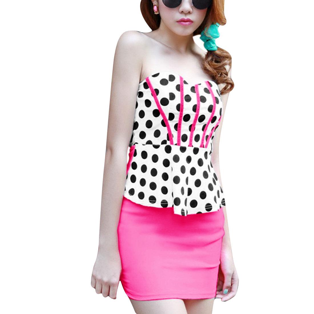 Women Sleeveless Color Block Chic Mini Dress Hot Pink White XS
