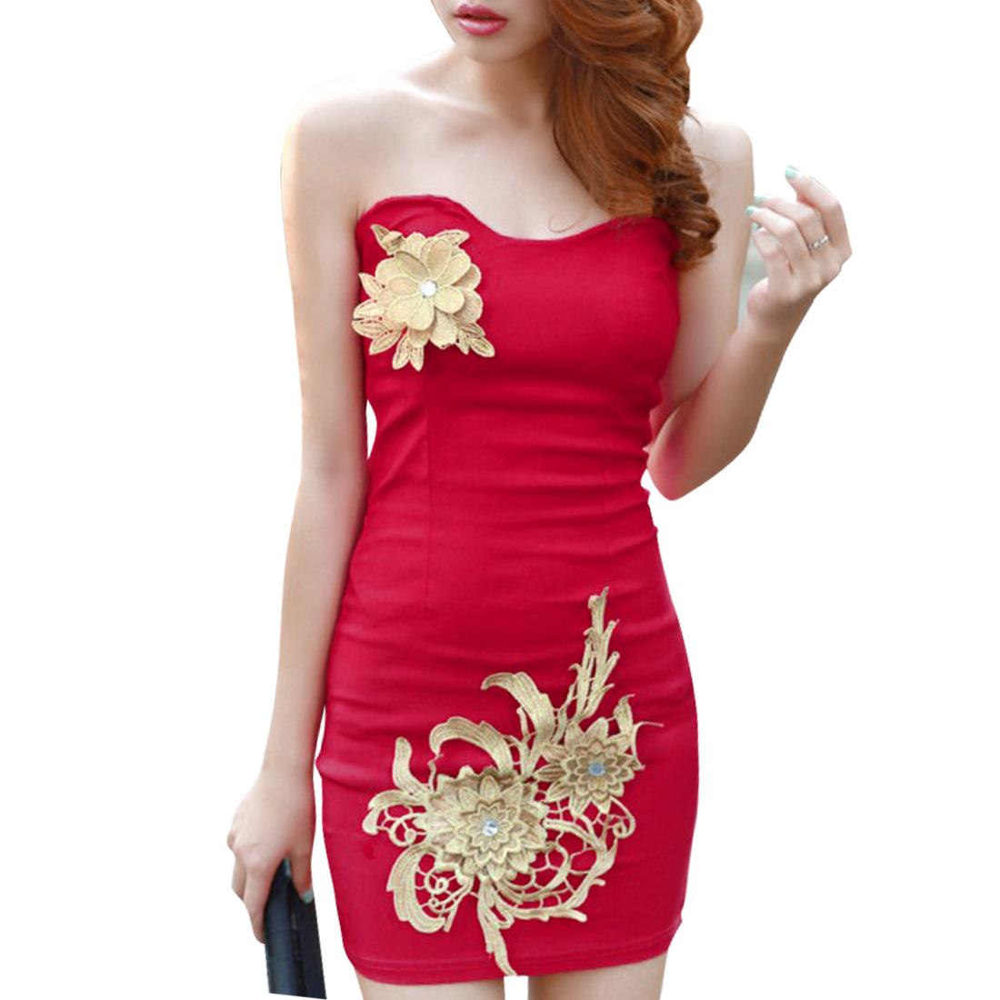 Strapless Elastic Back Fuchsia Skinny Mini Dress for Lady XS