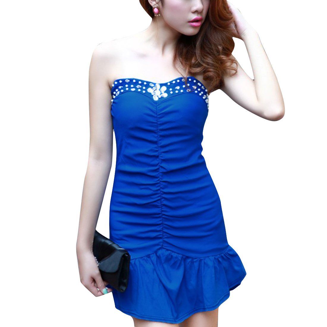 Women Off Shoulder Flounced Hem Elastic Dress Royal Blue XS