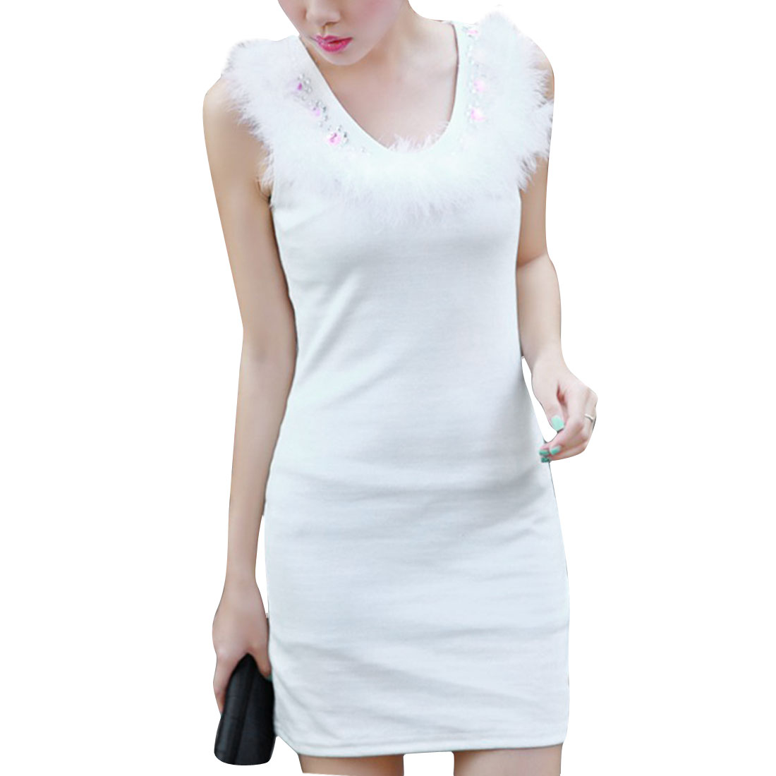 Women Scoop Neck Sleeveless Fashionable Sweet Dress White XS