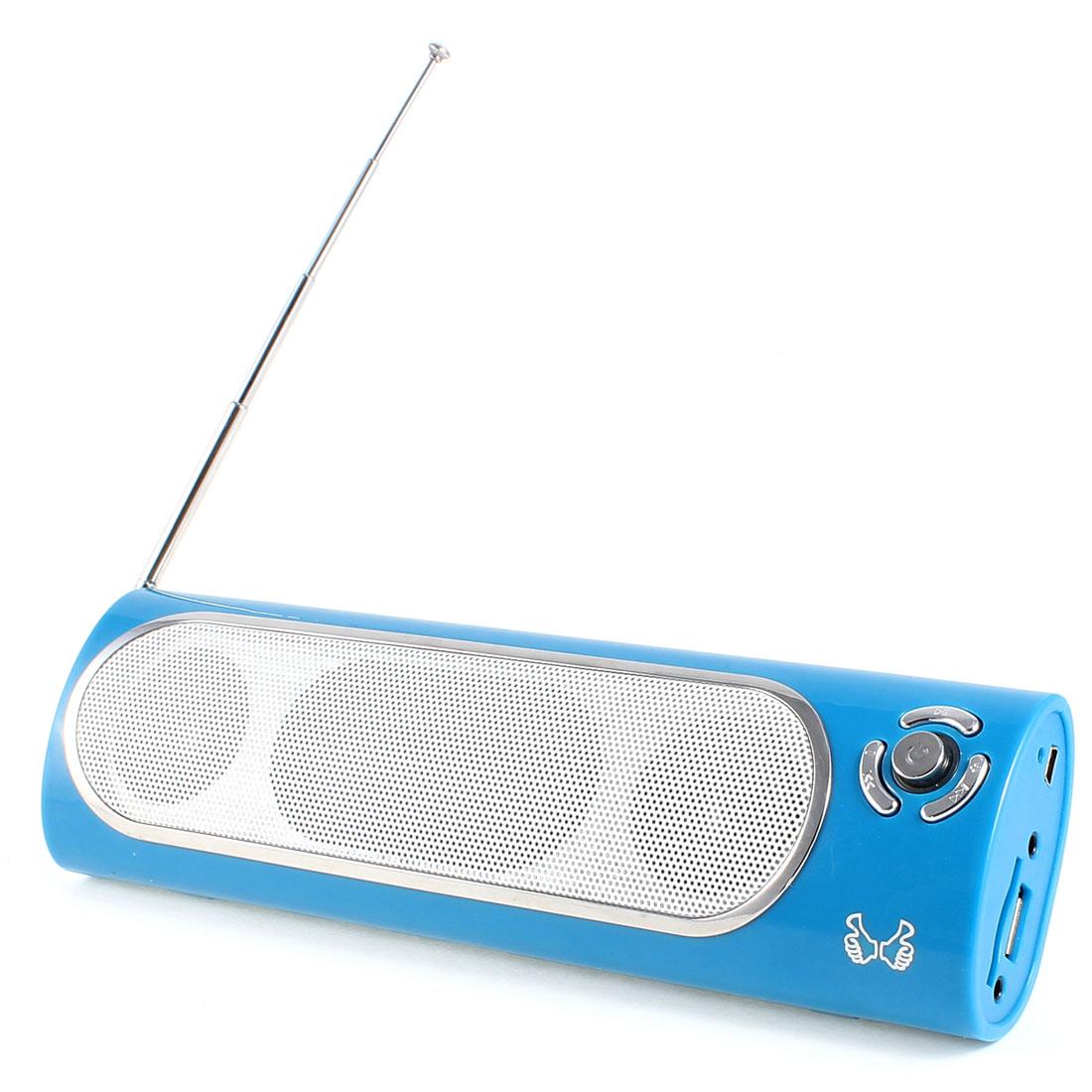 Blue SD MMC Card USB Slot FM Audio Stereo Sound Multimedia Speaker for Notebook