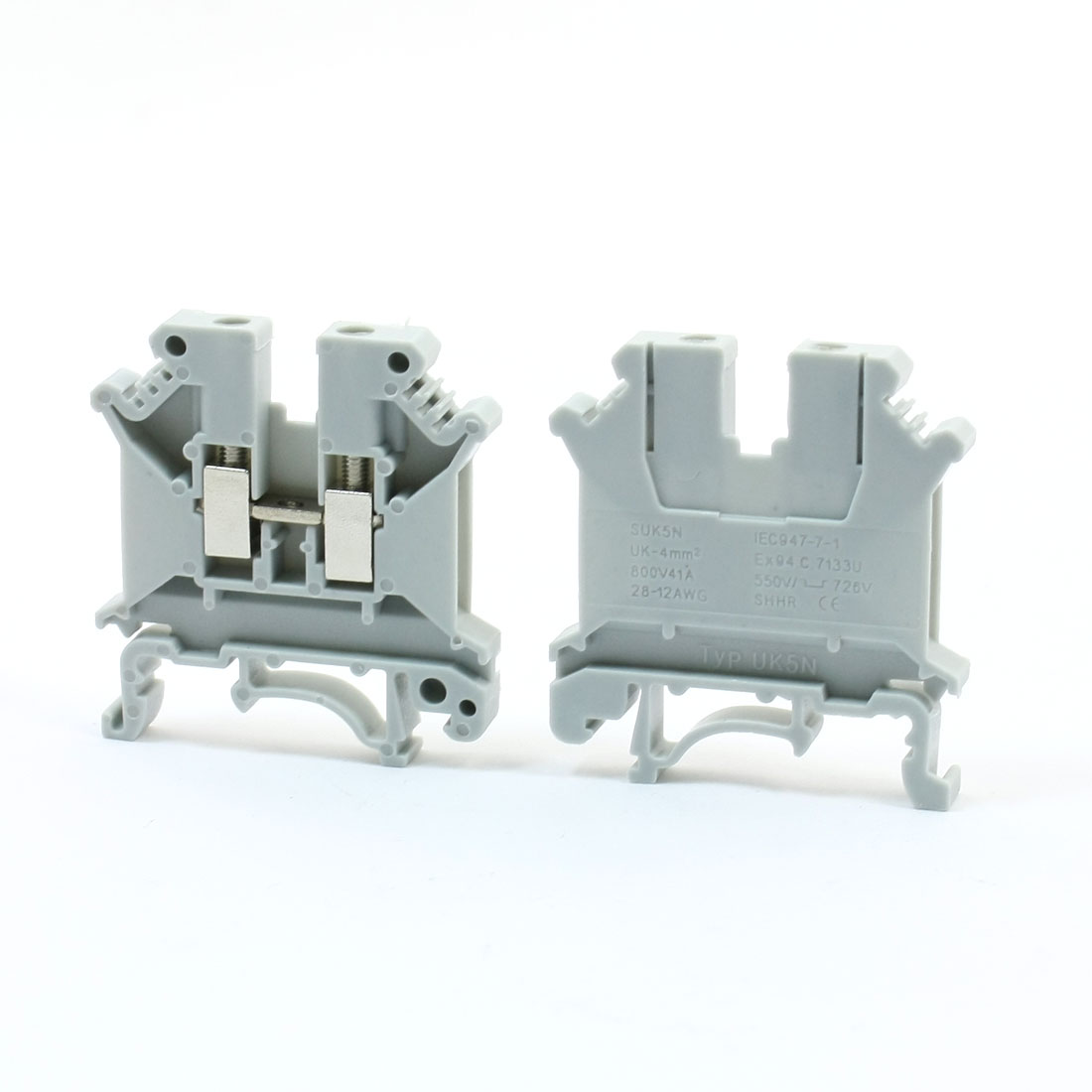 28-10AWG Wire Range Side Entry Screw Terminal Block Connector UK5N 2 Pcs
