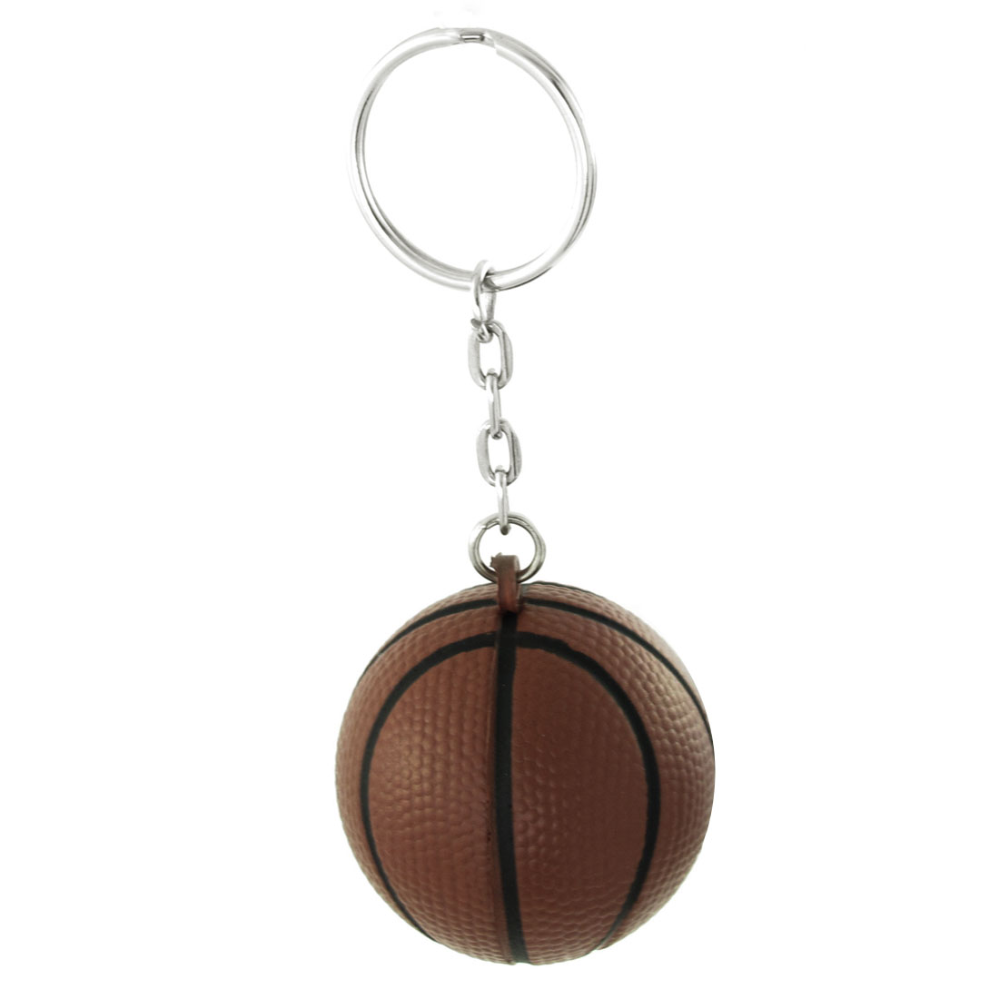 Brown Basketball Pendant Keyring Keychain Silver Tone