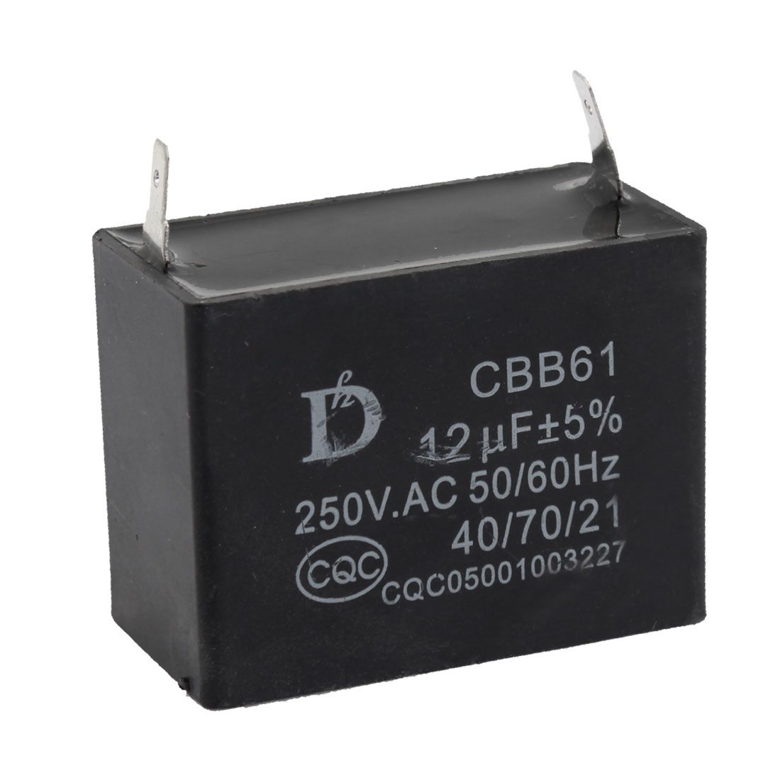 CBB61 12uF 50/60Hz DIP Motor Run Capacitor AC 250V Black