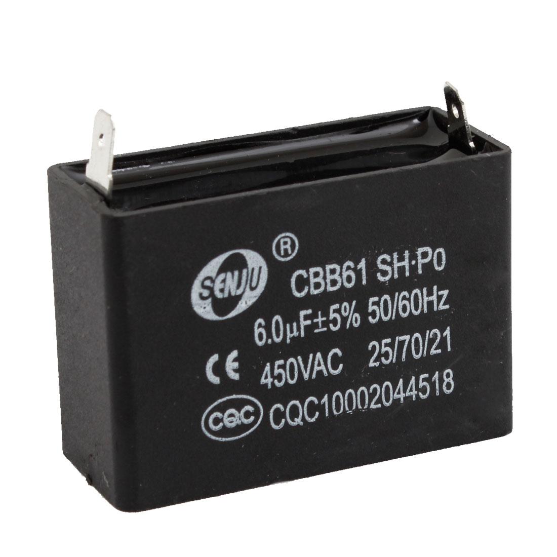 CBB61 6uF 450V AC Polypropylene Film 2 Terminals Motor Capacitor