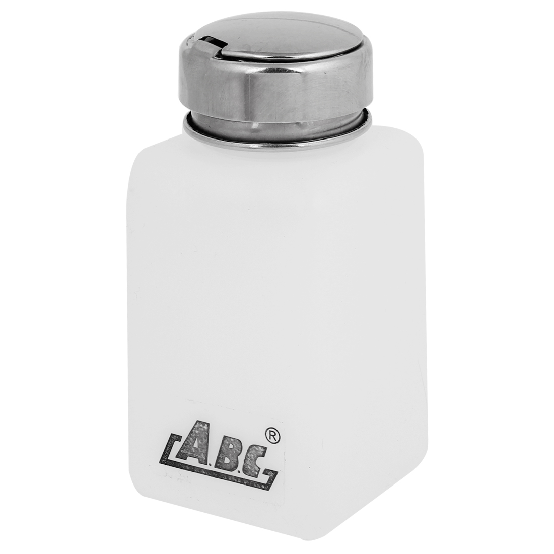 Silver Tone Metal Lid 180ml Liquid Container Alcohol Bottle White