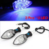 2 Pcs Blue 12 LED Motorcycle Indicator Turn Signal Lights Steering Lamps DC 12V