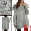 Women Pullover Batwing Sleeve Two Pockets Thin Sweater Light Gray S