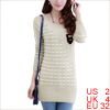 Women Long Sleeve Panel Mock Chest Pocket Thin Sweater Beige XS