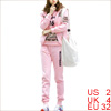 Lady Stretchy Waist Pants & Long Sleeve Hoodie & Hooded Pink Vest XS