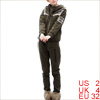 Lady Mid Rise Pants & Hooded Hoodie & Pockets Front Army Green Vest XS