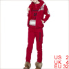 Lady Elastic Waist Pants & Long Sleeve Hoodie & Hooded Red Vest XS