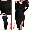 Women Long Sleeve Split Hem Elastic Knitted Dress Black XS