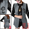 Lady Stand Collar Long Sleeve Patchwork Button Closure Gray Black Worsted Coat XS