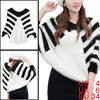 Woman's Fashion Black White Stripes Pullover Batwing Sleeve Sweater S