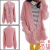 Ladies Long Sleeve Two Pocket Pink Knit Cardigan Sweater M
