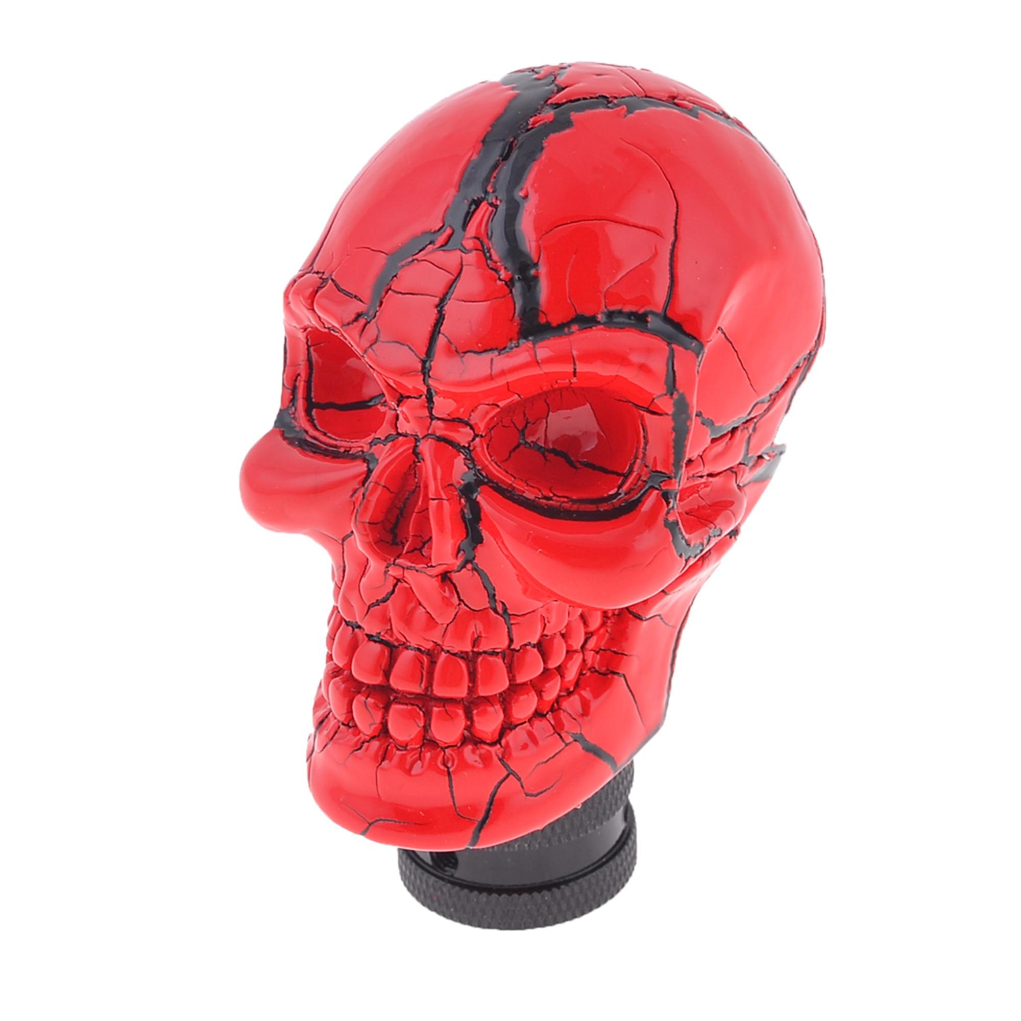 Car Truck Cracked Skull Head Shape Shift Gear Shifter Knob Cover Red