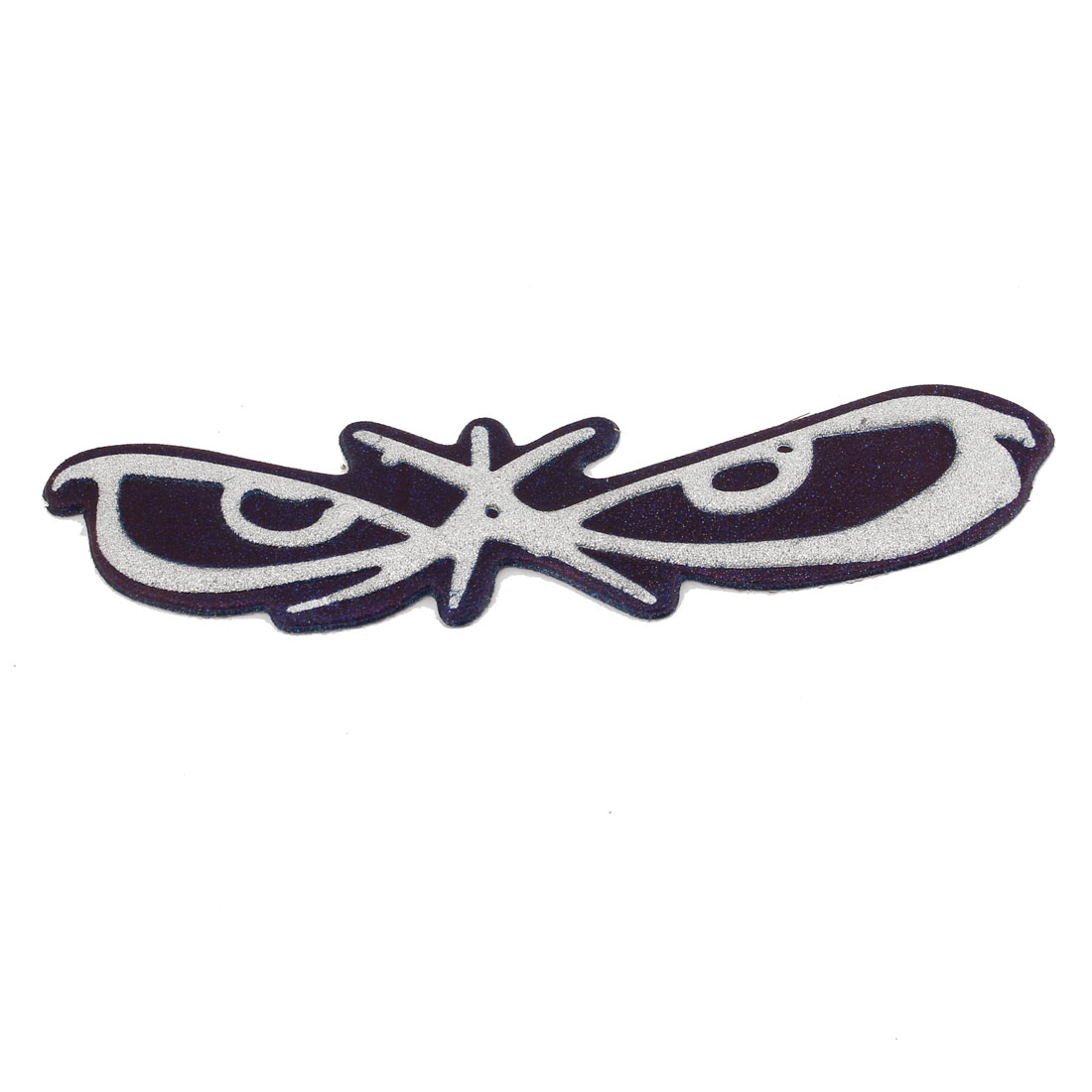 Silver Tone Blue Butterfly Shaped Auto Car Emblem Badge Stickers Decoration