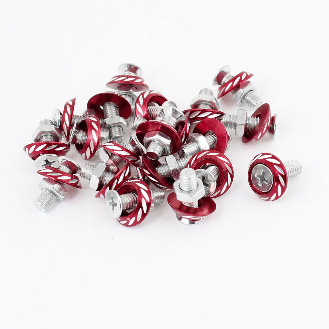 Motorcycle Car License Round Head Plate Screw Bolt Decoration Red 20 Pcs