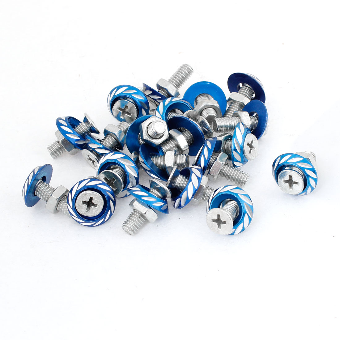 20 Pcs 25mm High Blue Round Auto Car License Plate Bolt Screw
