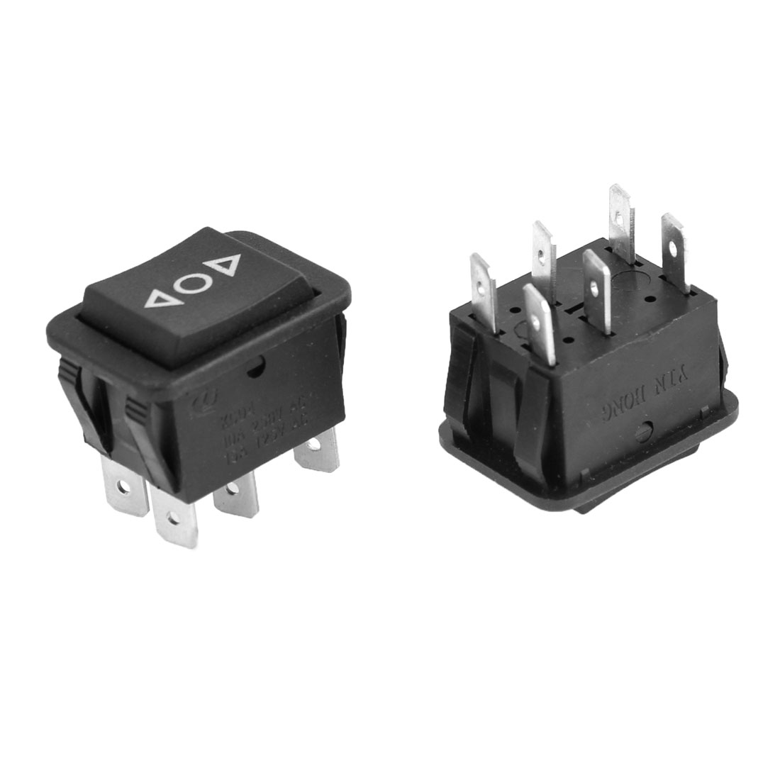 2 Pcs Black Plastic AC 250V/10A 125V/15A DPDT Momentary Rocker Switch for Car