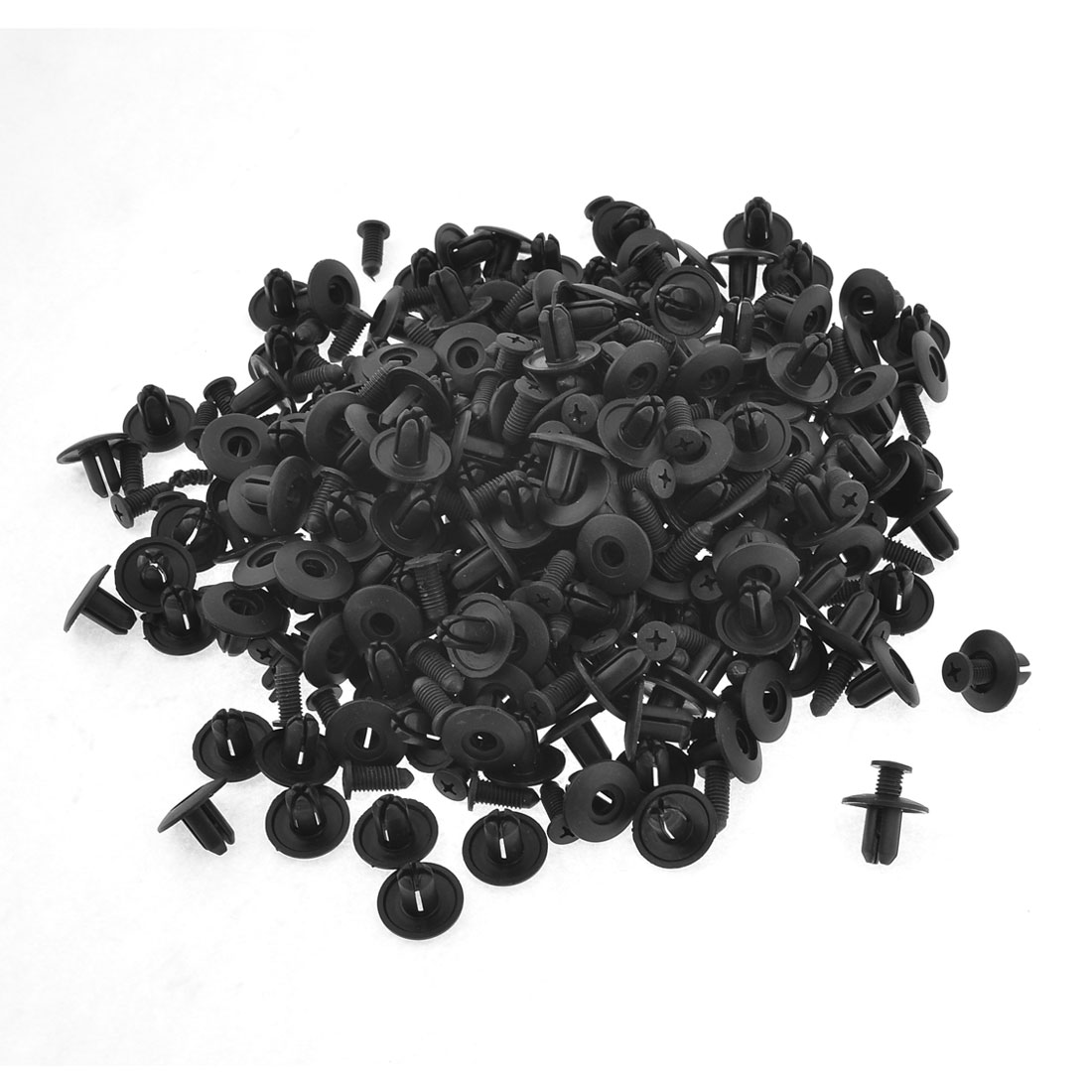 200 Pcs 8mm Dia Hole Black Fender Plastic Rivet Fastener for Auto Car