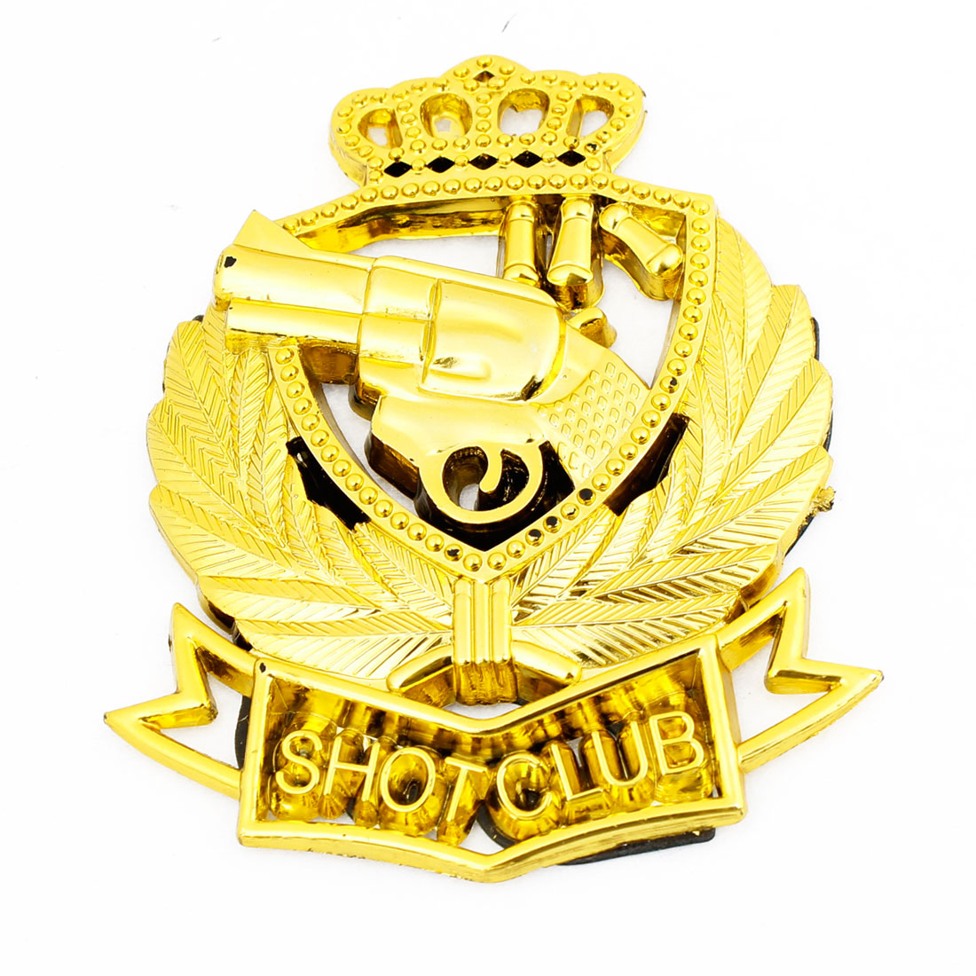 Gold Tone Crown Gun Shaped Decal 3D Sticker Ornament for Auto Car