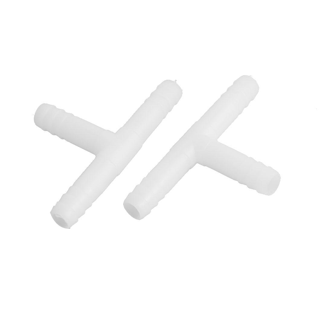 "25/64"" Dia 3 Ways Hose Barb Pipe T Connector Adapter Coupler Plastic 2 Pcs"