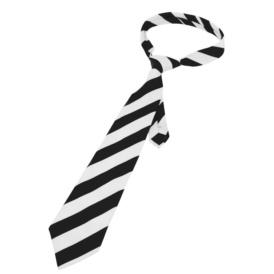10cm Width Black White Stripe Pattern Polyester Self Tie Necktie for Men