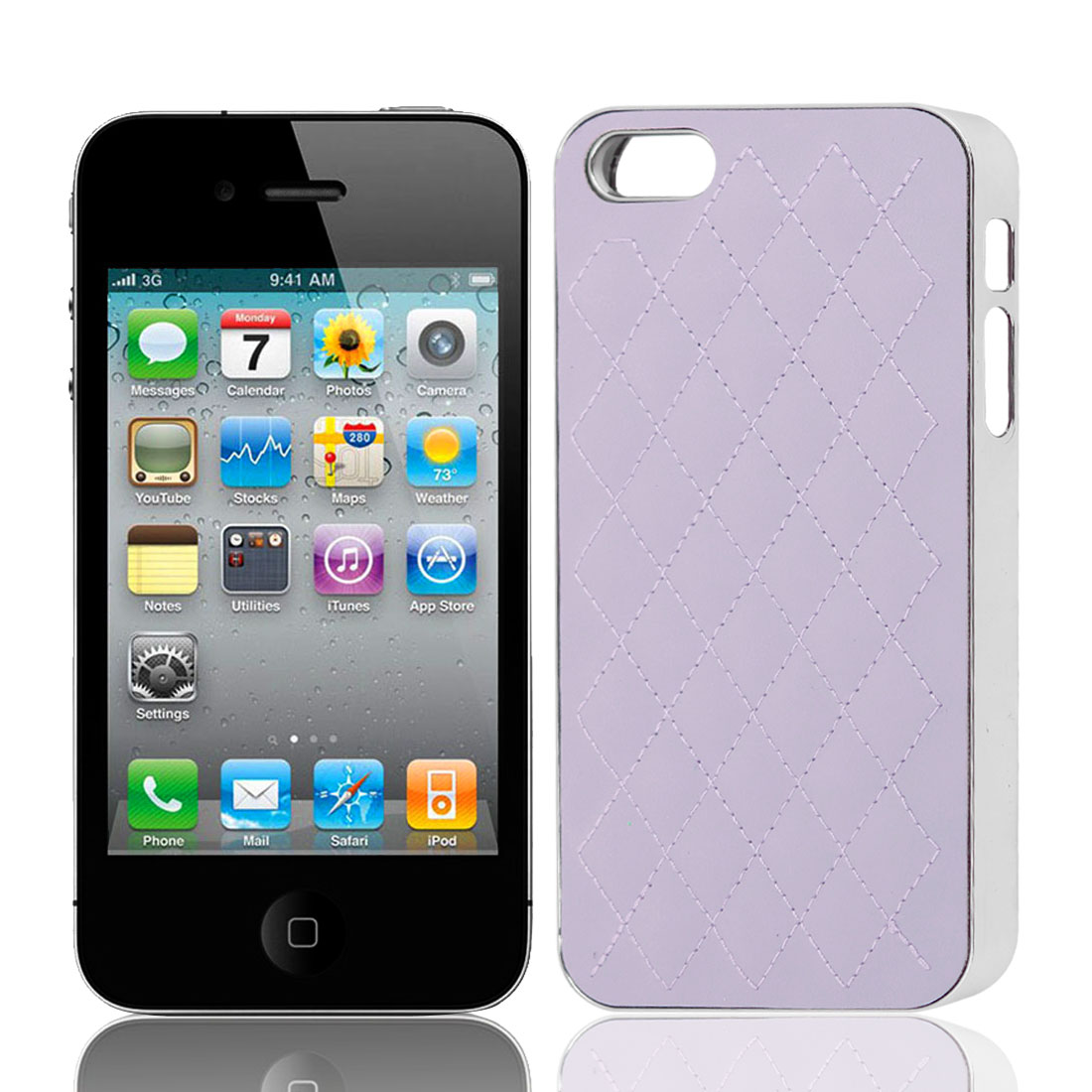 Lavender Color Faux Leather Coated Back Cover Case for iPhone 4 4G 4S