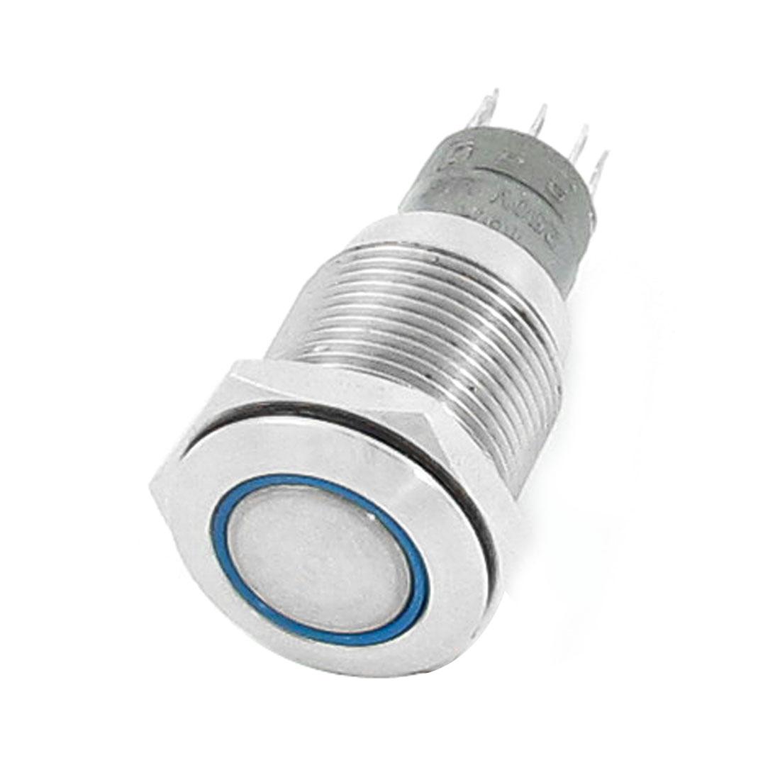 """DC 24V Blue LED Light 3/8"""" PT Male Thread SPDT Momentary Push Button Switch"""