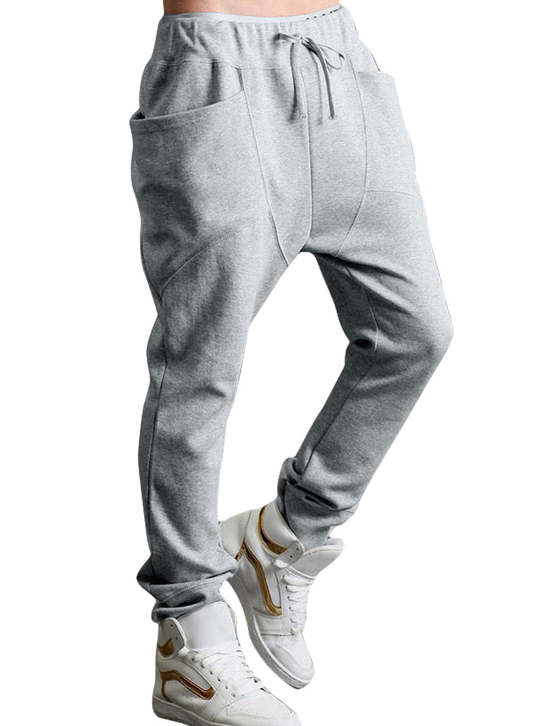Men Two Big Pockets Deisgn Leisure Fashion Pants Light Gray W36