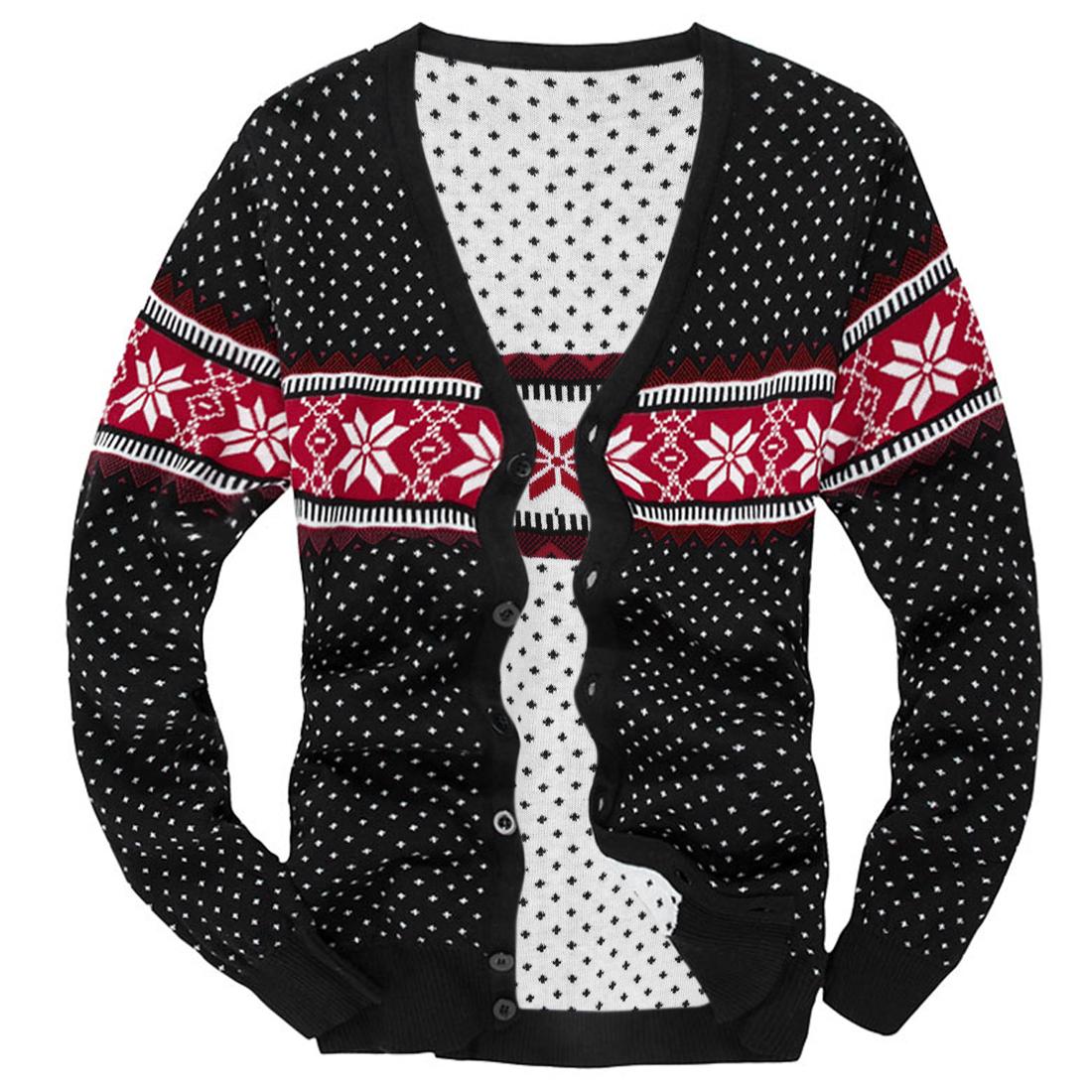 Men V Neck Geometric Prints Black Red Knit Cardigan S