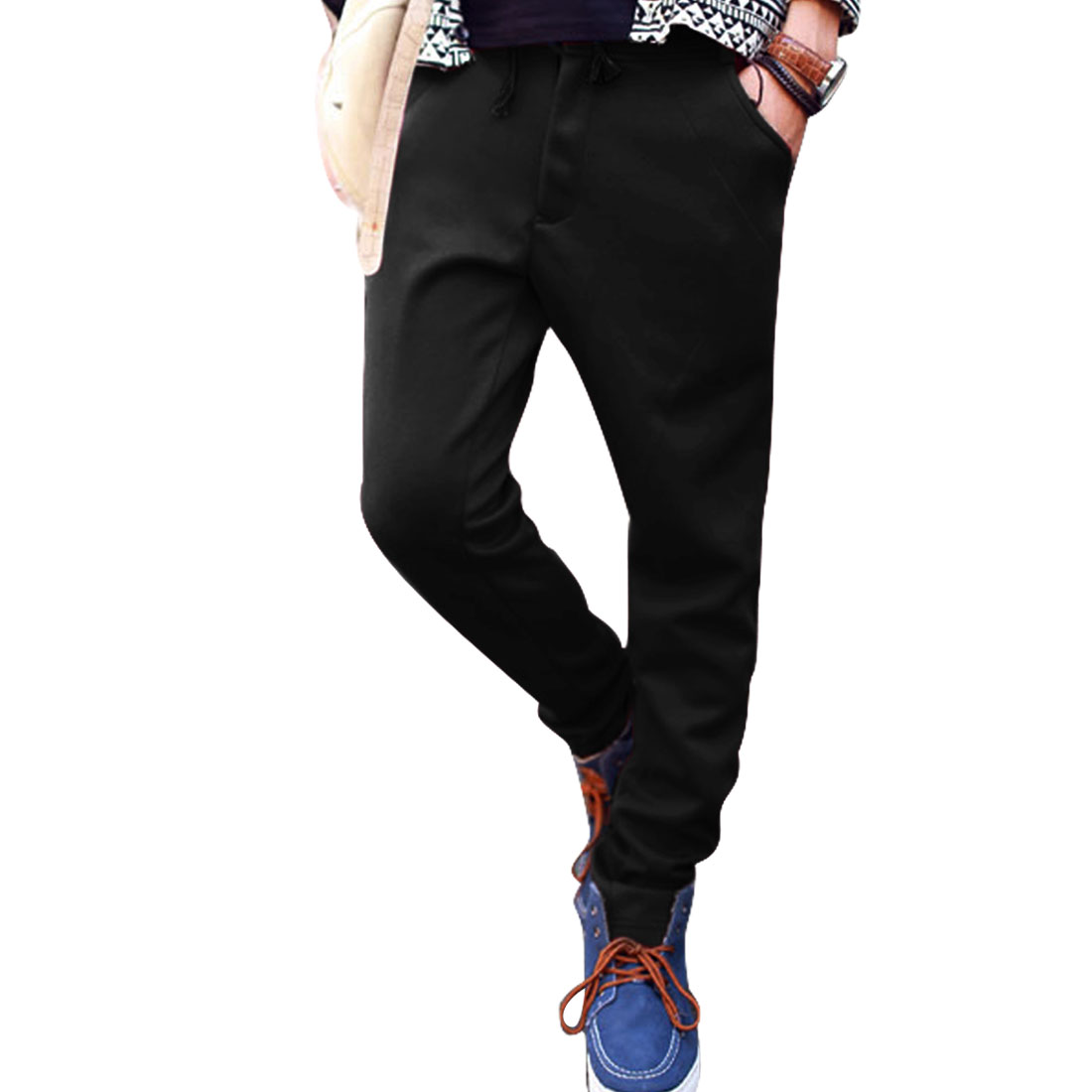 Black Back Button Decor Pocket Belt Loops Long Pants Trousers Man W32