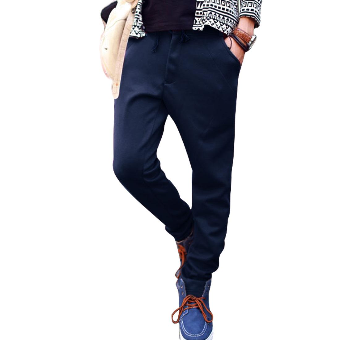 Fashion Dark Blue Belt Loops Drawstring Hand Pockets Pants for Man W32