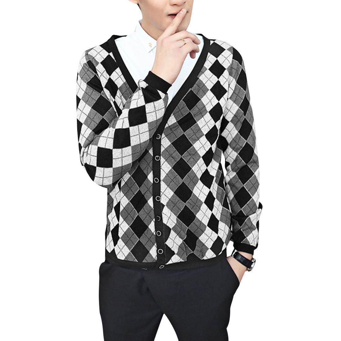 Men Argyle Pattern Long Sleeve Multicolor Knit Cardigan Shirt S