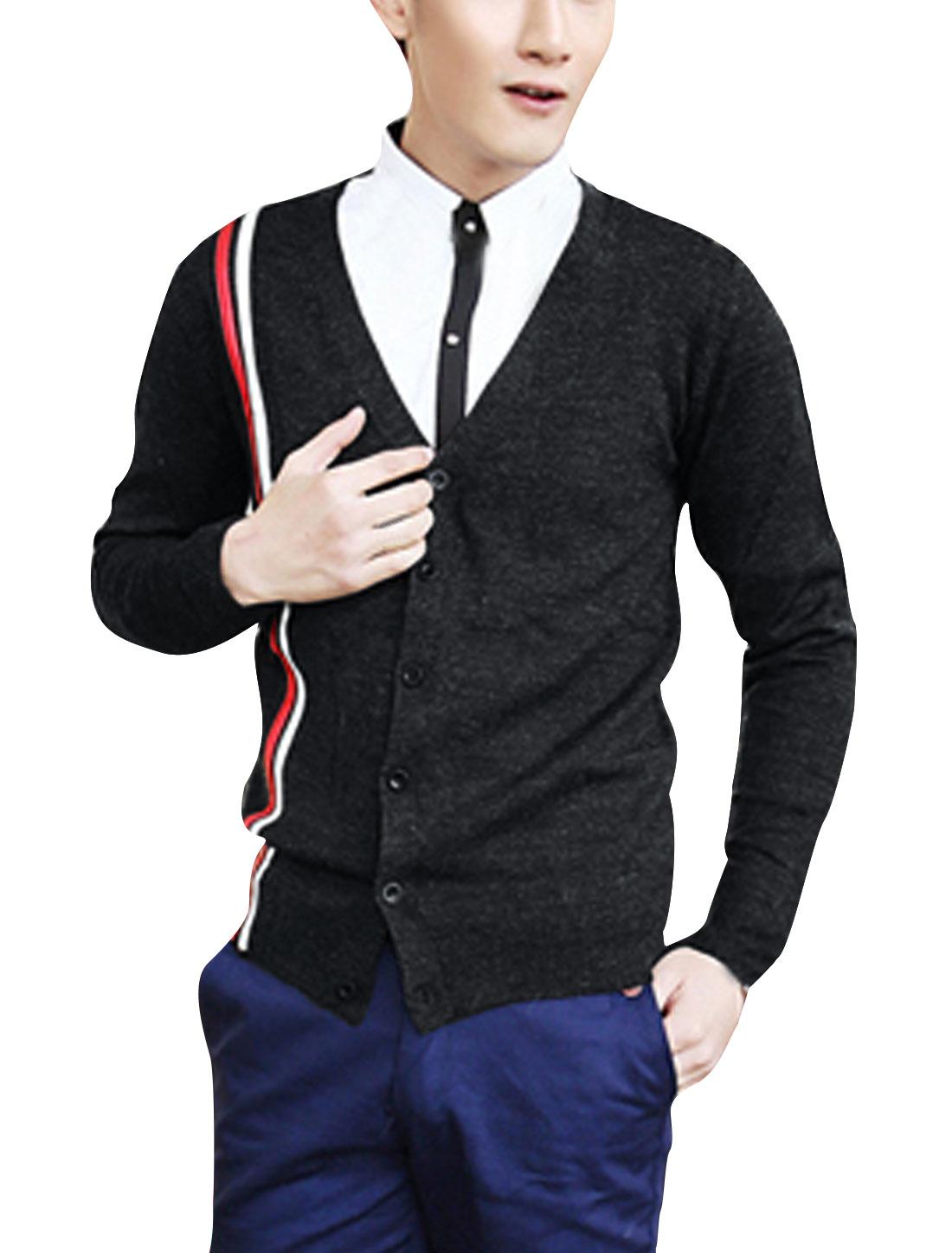 Men Chic V-Neck Long Sleeve Stripes Detail Dark Gray Knitted Cardigan S